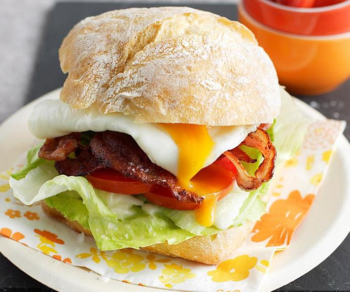 **Breakfast burgers:** With oozey eggs and packed with bacon, you'll let Dad know that he is number one with this hearty breakfast burger!