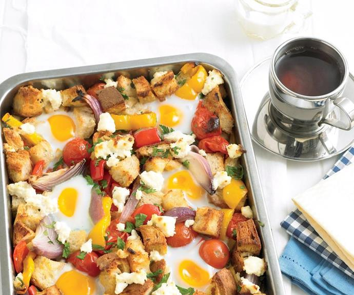 **Breakfast bake:** Serve Dad up this vegetarian beauty, baked rather than fried. Feed an army, plus cut down on kilojoules .. and save on the washing up!