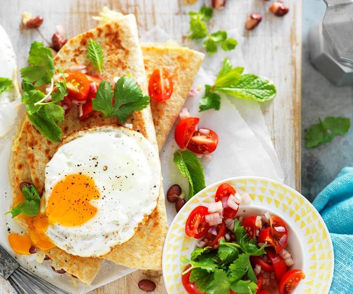 **Breakfast quesadillas:** This tasty Mexican inspired breakfast quesadilla encases oozy cheese, runny eggs and hearty beans to create a healthy, flavour-packed breakfast or lunch that will fuel your dad for the day ahead.