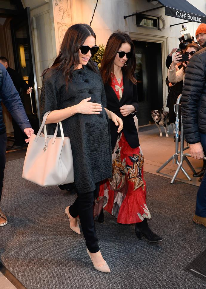 Meghan in New York City pictured with friend Abigail Spencer.