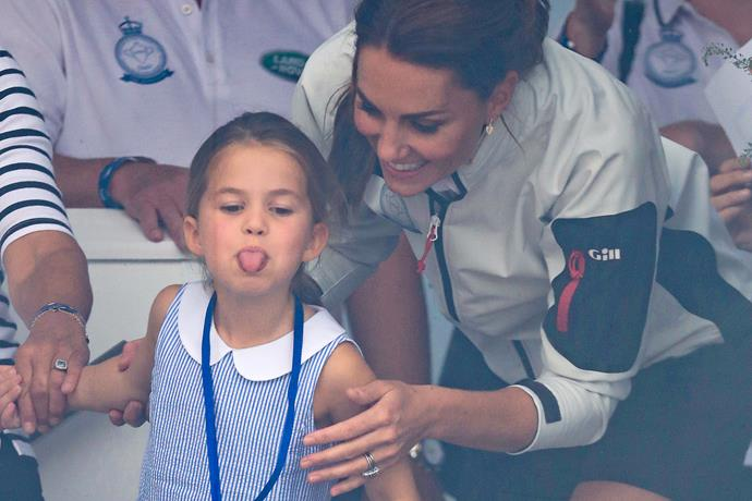 Cheeky! Little Charlotte was seen poking her tongue out to crowds after her mother tried to encourage her to wave to crowds.