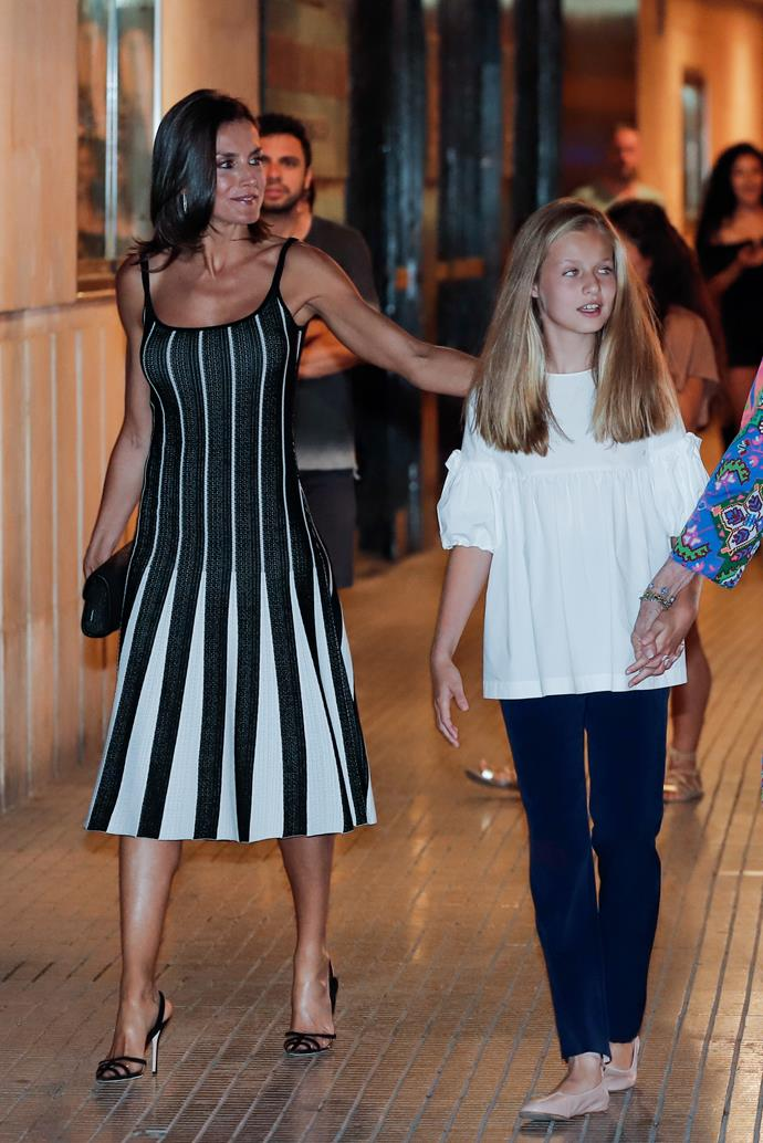 Stepping out on a warm summers evening in Palma de Mallorca, the stunning Queen looked incredible in this monochrome gown.