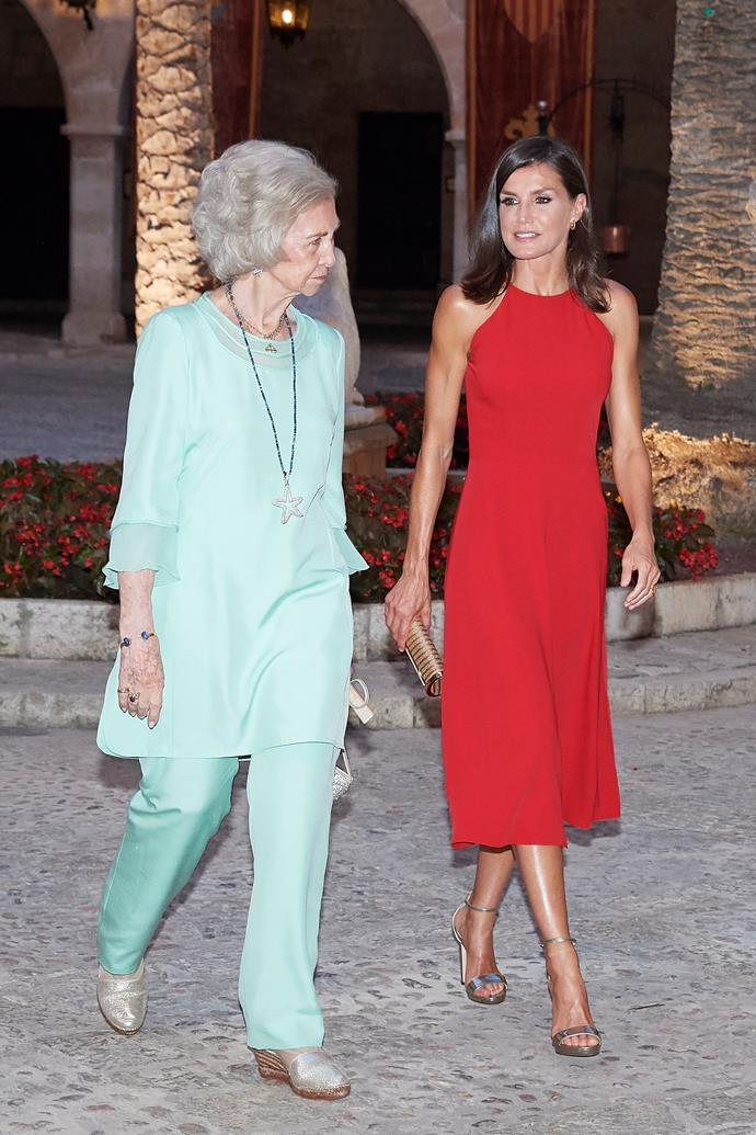 A siren as always, Letizia stunned in a bright red midi-dress worn to a dinner for authorities at the Almudaina Palace. With Queen Sofia wearing a gorgeous teal ensemble, the pair made the ultimate style statement.
