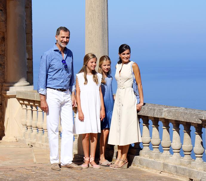 In yet another set of sweet family pics, Letizia glowed on an outing to visit the Son Marroig museum. And how cute are her daughter's wedge espadrille heels - like mother like daughter!