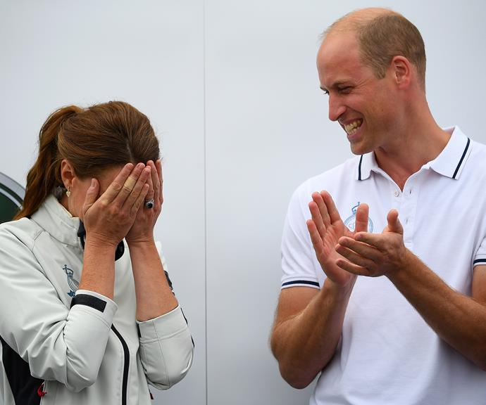 Wills pokes fun at a clearly embarrassed Kate!