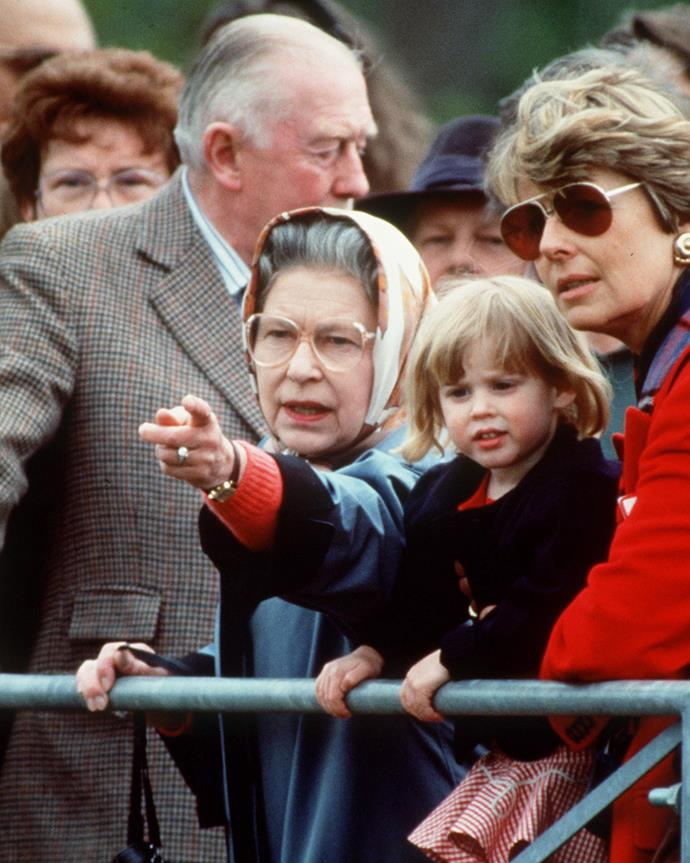 Beatrice and the Queen pictured in 1991. How cute is Beatrice?!