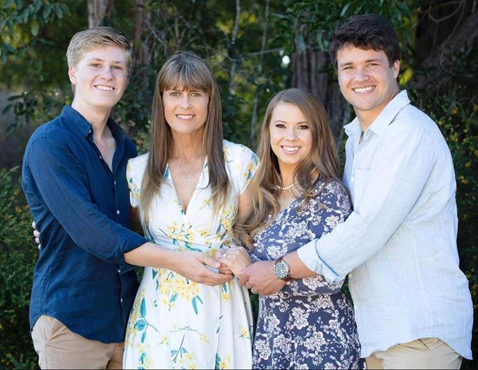 Robert Irwin, Terri Irwin, Bindi Irwin and Chandler Powell pictured just after Bindi got engaged.