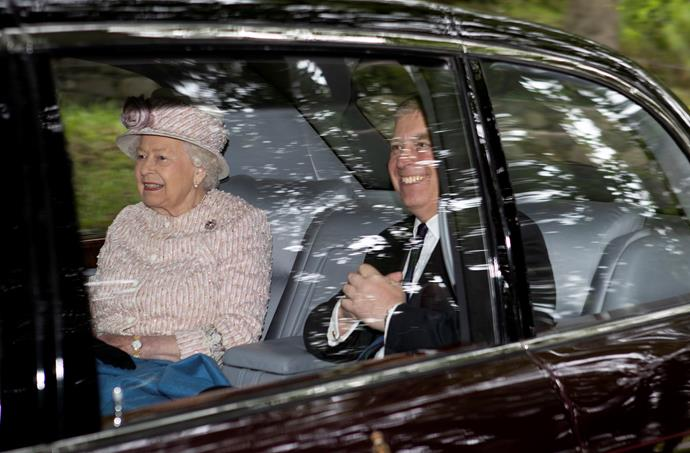 The Queen was seen driving into church alongside her son Prince Andrew.