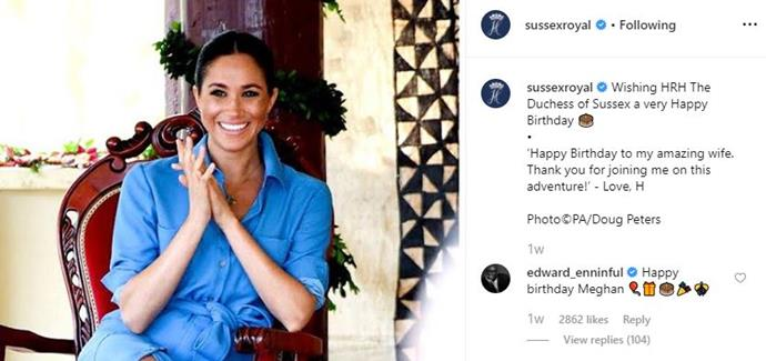 Prince Harry's message to Meghan was met with delight from royal fans.