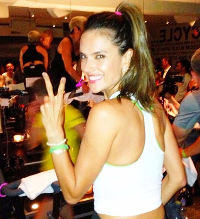 Former Victoria's Secret model Alessandra Ambrosio getting in a spin class.