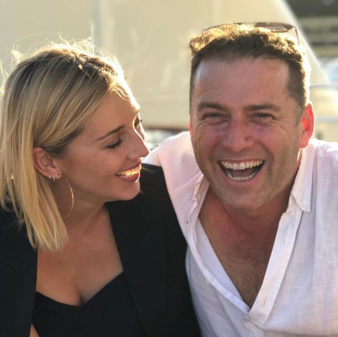 The couple were all smiles in this candid picture.
