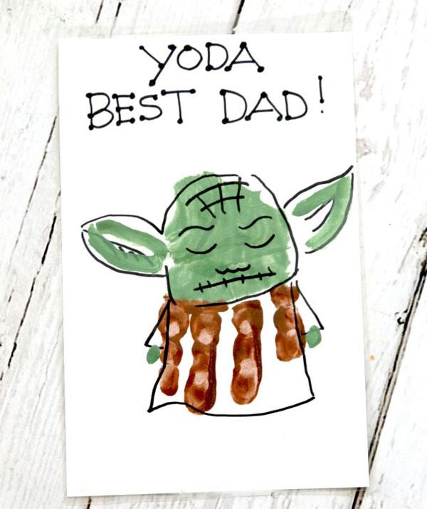 **Yoda best dad!**  If Papa is a *Star Wars* fan, this handprint Yoda card will be out of this world.  <br><br> Paint your child's palm green and fingers brown. Press handprint onto a card and wait until it dries. <br><br> Use a black texta to draw Yoda onto the handprint. Use a paint brush to add Yoda's green ears and hands.