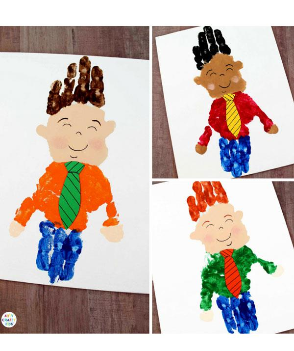 **My handy Dad**  Create a 'hand' self-portrait of Dad. Paint your child's palm with flesh toned paint and your child's fingers with a hair colour paint (see pic) and press onto a card. Wait for the handprint to dry.  <br><br> Next, paint your child's palm a colour for the shirt and your child's fingers a different colour for the pants. Wait until it's dry. <br><br> Cut-out a tie from coloured paper and glue it on.  <br><br> Use a paint brush to tidy up the image - adding ears and hands - and a black marker to add the face and stripes to the tie.