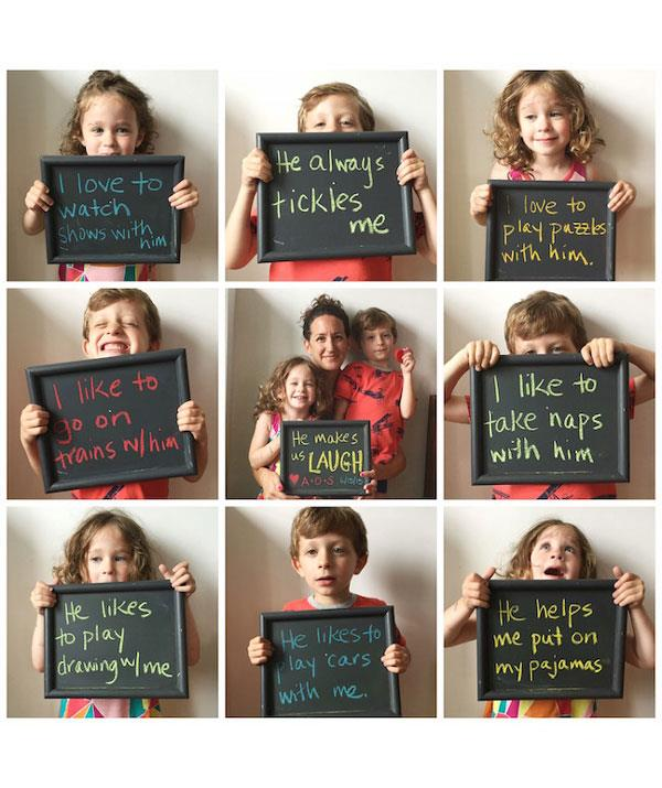 "**Chalkboard photo collage**  Another fun photo idea using a chalkboard.  <br><br> This time ask your kids why they love their dad and write their responses on the sign. <br><br> Create a photo collage using an app and on Father's Day share it on your Facebook and Instagram page. Don't forget to tag the ""man of the moment"" in the photo."