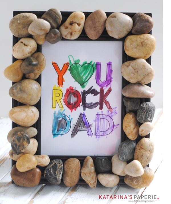 """**You Rock Dad**  A free printable You Rock Dad template is available [here](http://katarinaspaperie.com/2016/05/free-printable-rock-dad-coloring-page-diy-rock-frame/