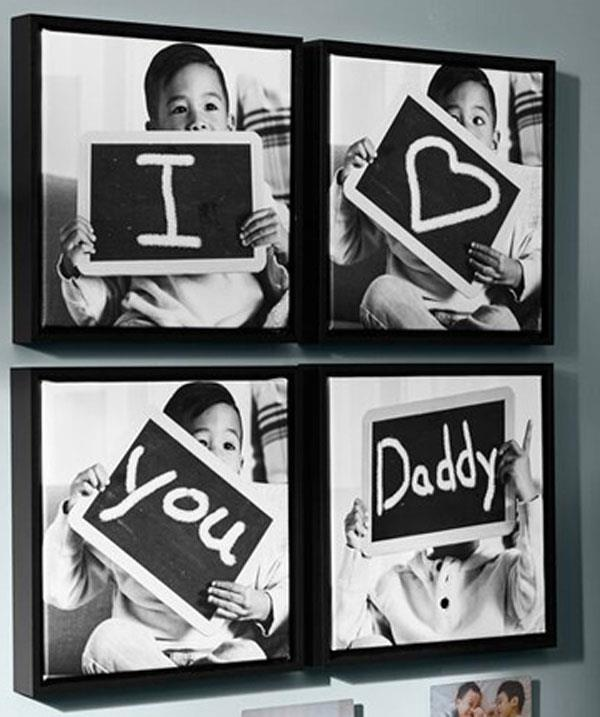 "**DIY photo shoot**  Set up a little photo shoot at home. You could use a chalkboard to write ""I *heart* you Daddy"" or use one of your own ideas. Print off the image and frame them. Ta-da! A keepsake Papa Bear will cherish."