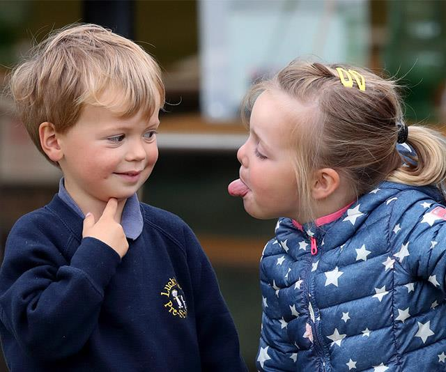 Zara Tindall's daughter Mia is also as cheeky as the rest of them. Here, she's seen sticking her tongue out at Charlie Meade, who is the son of celebrated event rider Harry Meade. The pair were attending the Whatley Manor Horse Trials in 2017.
