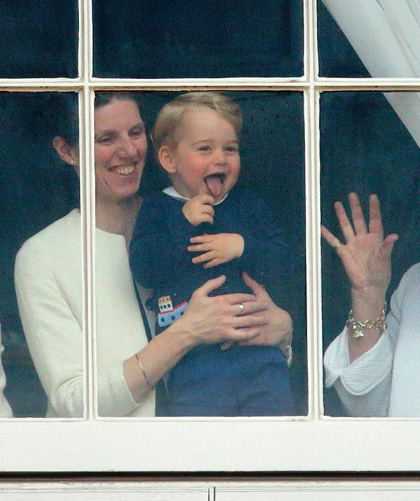 Trooping The Colour definitely provides the goods when it comes to candid royal displays. Here, a young Prince George delights crowds below Buckingham Palace as they wait for the traditional flyover in 2015.