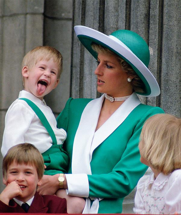 "He mightn't be next in line to the throne, but Prince Harry could safely take the title as King of Cheekiness. The young royal gave crowds a good old laugh at [Trooping The Colour](https://www.nowtolove.com.au/royals/british-royal-family/trooping-the-colour-2019-56294|target=""_blank"") back in 1988 when he poked his tongue out for all to see."