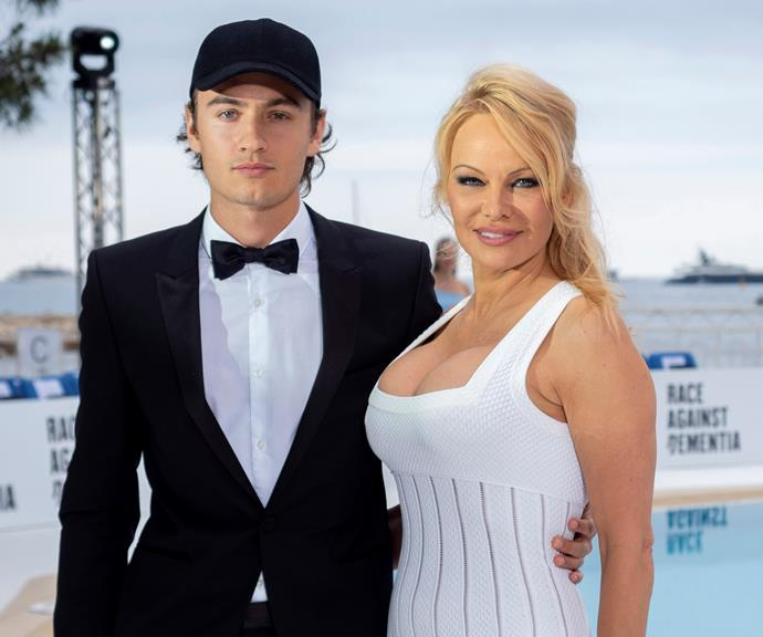 Brandon Lee (left) with his mother Pamela Anderson.