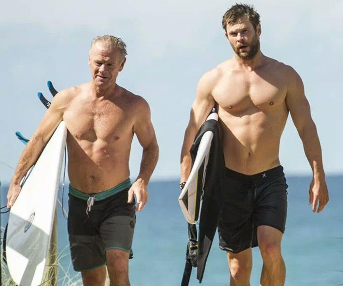 Craig and Chris were spotted going surfing together in 2016, with the father-and-son hunks showing off their rock-hard abs on a beach in Byron Bay. Phwoar!