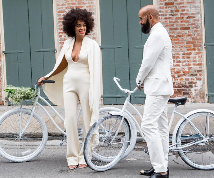 Beyonce's sister Solange Knowles rocked the hell out of this cream jumpsuit on her big day.
