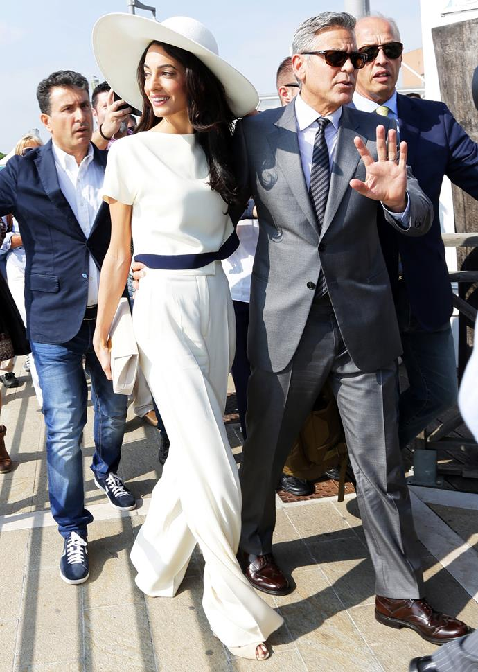 The stunning human rights lawyer looked effortless in this chic white Stella McCartney jumpsuit that she wore to her civil ceremony, held in Italy.