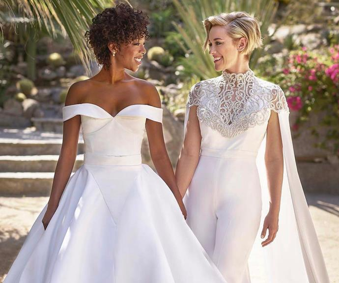 *Orange Is The New Black* star Samira Wiley (left) married her partner Lauren Morelli in California, with both brides wearing outfits from American designer Christian Siriano.  <br><br> We're obsessed with the neckline on Lauren's jumpsuit!