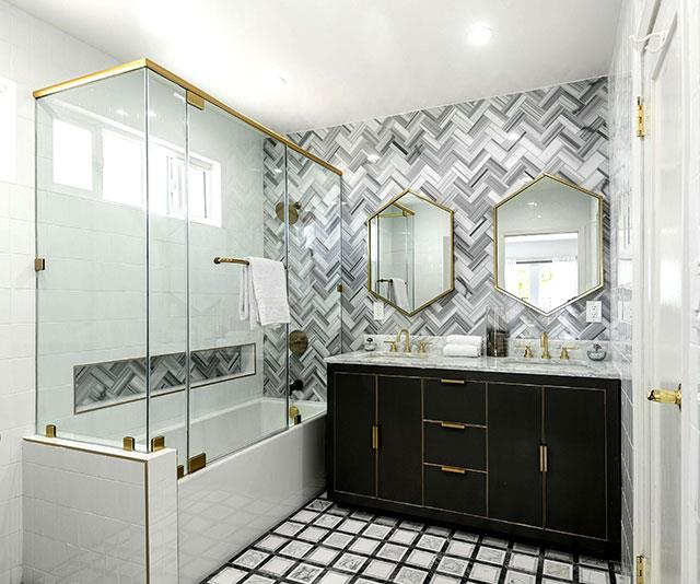 A touch of gold adds a touch of class in the bathroom.