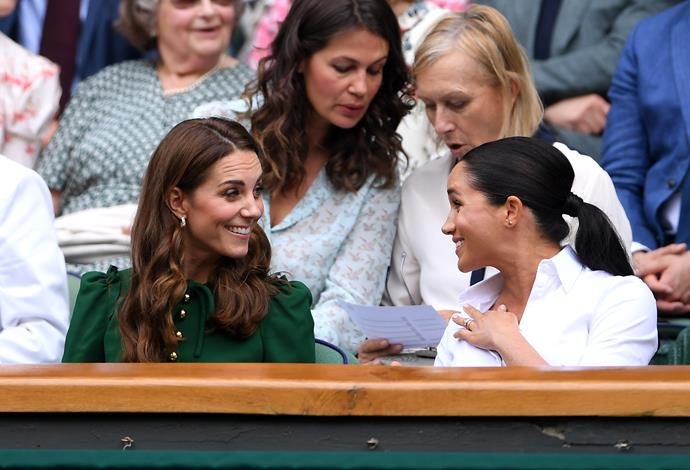 Meghan and Kate chatted away like old pals during the Wimbledon women's final.