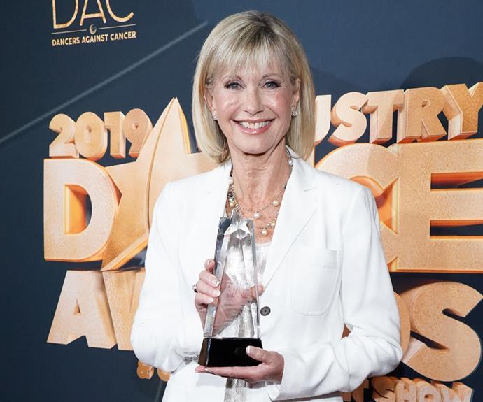 ONJ with her Lifetime Achievement Award.
