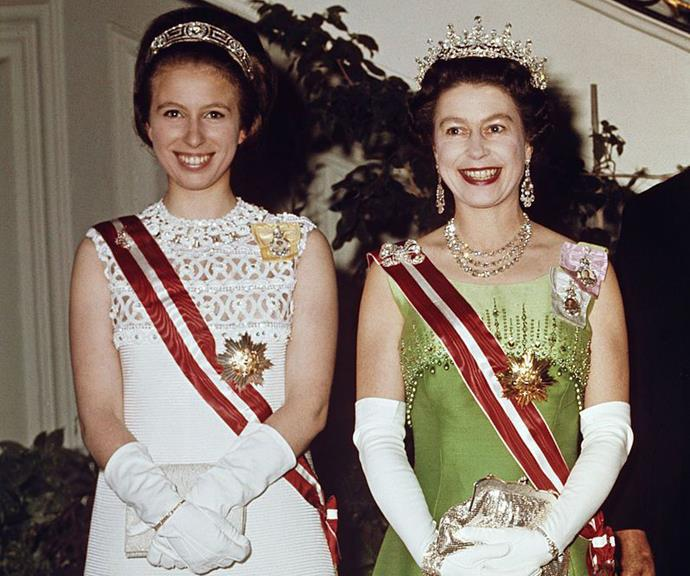 Queen Elizabeth and Princess Anne pictured in their younger years.