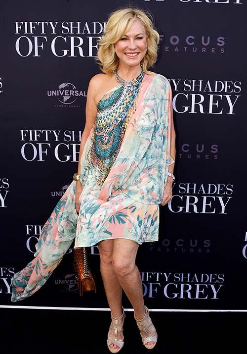 She's fifty shades of wonderful in this gypsy inspired print - KAK looked summery and chic as she attended the *Fifty Shades of Grey* premiere in 2015.
