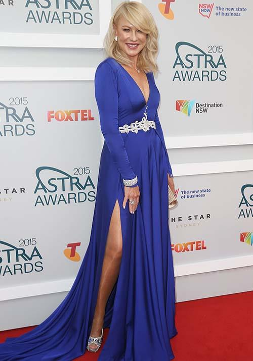 And how dreamy is this purply-blue gown on the stunning presenter at the 2015 ASTRA Awards? Red carpet-chic is old hat for this fashion alum!