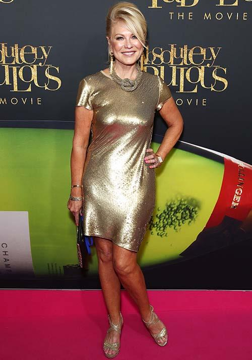 If red carpets were an Olympic sport, KAK would win a gold medal - this shiney capped-sleeves dress was all kinds of, well, *fabulous* at the 2016 *Absolutely Fabulous* Australian premiere.