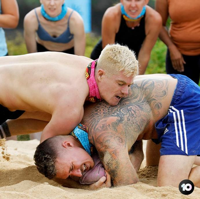 Matt says his favourite challenge was the first one where they wrestled in the sand.