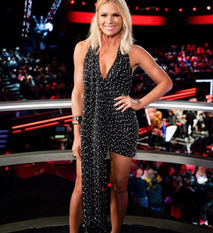Sonia Kruger in a Jaquemes dress on *The Voice*.