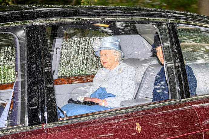 The Queen was seen heading to church at Balmoral alongside her family.