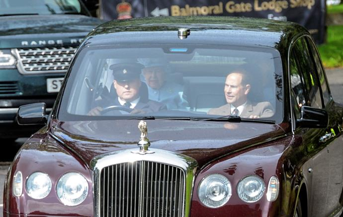 Prince Andrew was all smiles as the sun beamed down on their official transportation.
