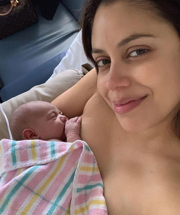 Rebecca gave birth to a daughter on Sunday.