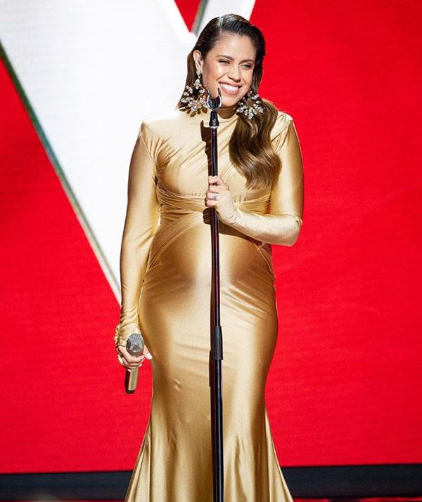 Rebecca competed on *The Voice* while pregnant with her second child.
