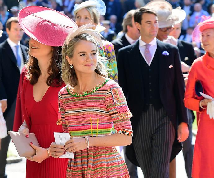 Cressida wore a gorgeous bright dress and matching hat on the big day.