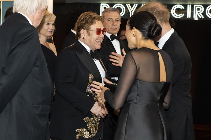Elton John with Duchess Meghan and Prince Harry at The Lion King premiere in London.