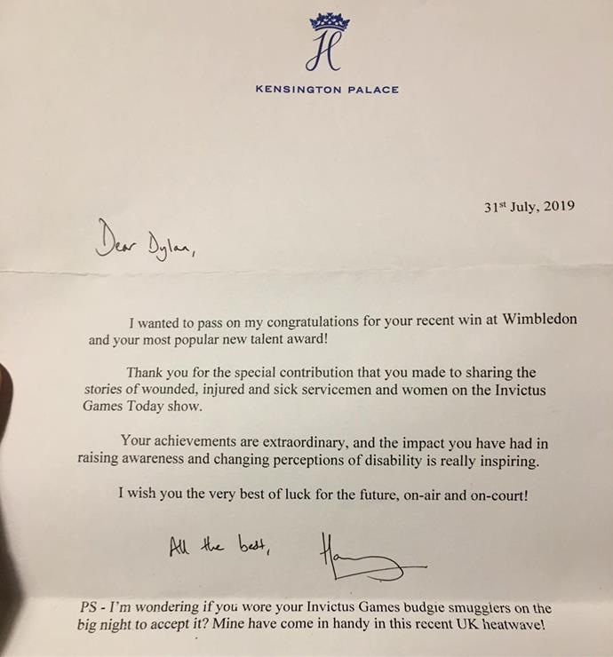 Dylan shared his personal letter from Prince Harry on social media.
