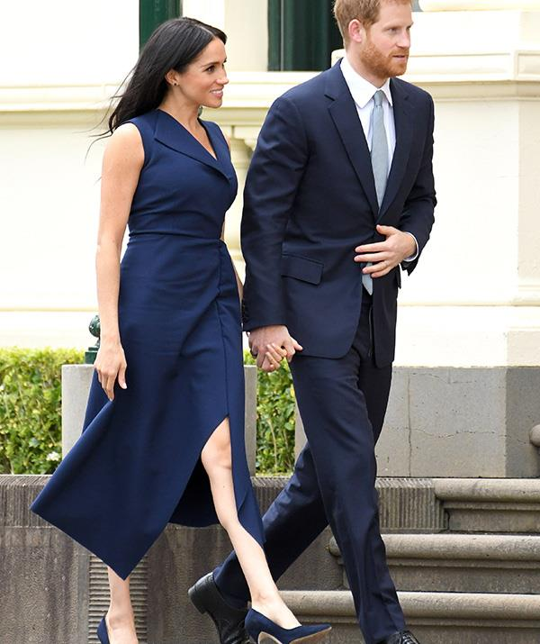 From the colour to the daring slit in the silhouette, Mulroney's dress of choice definitely resembles Meghan's Dion Lee design worn while she was in Melbourne.
