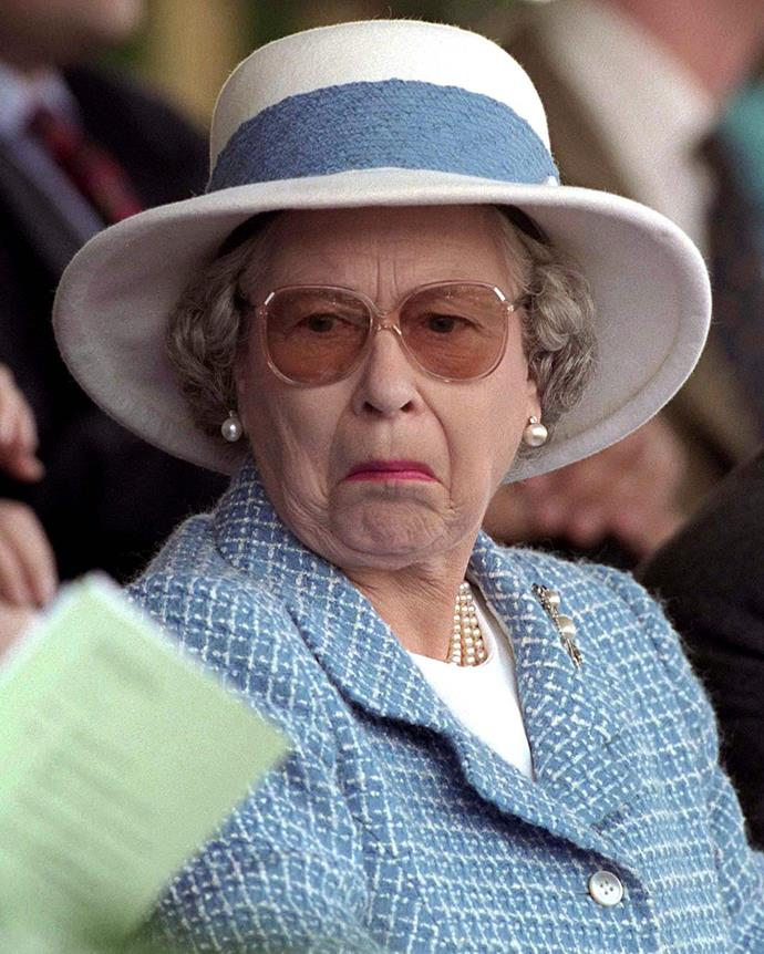 The Queen is not amused! Something at the Royal Windsor Horse Show in 1997 mustn't have pleased Her Majesty!