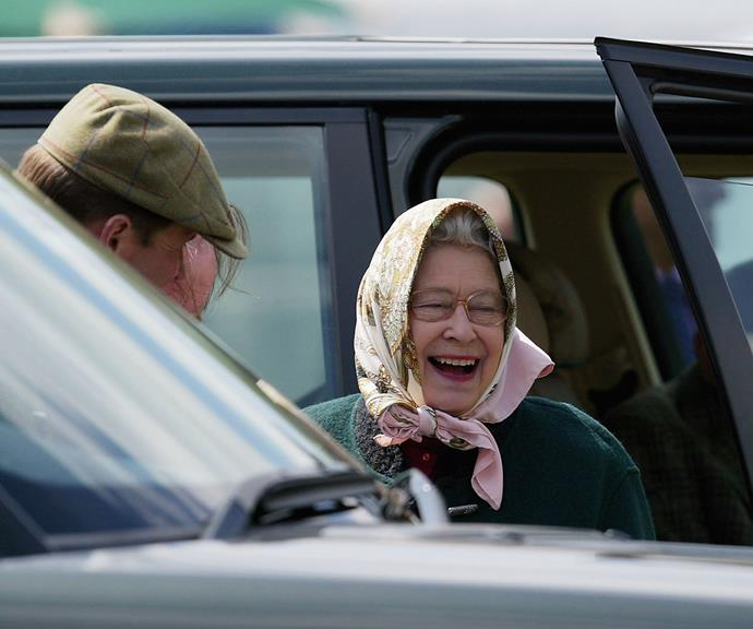 Queen Elizabeth shares a joke as she leaves the Royal Windsor Horse Show at Windsor Castle in 2005.