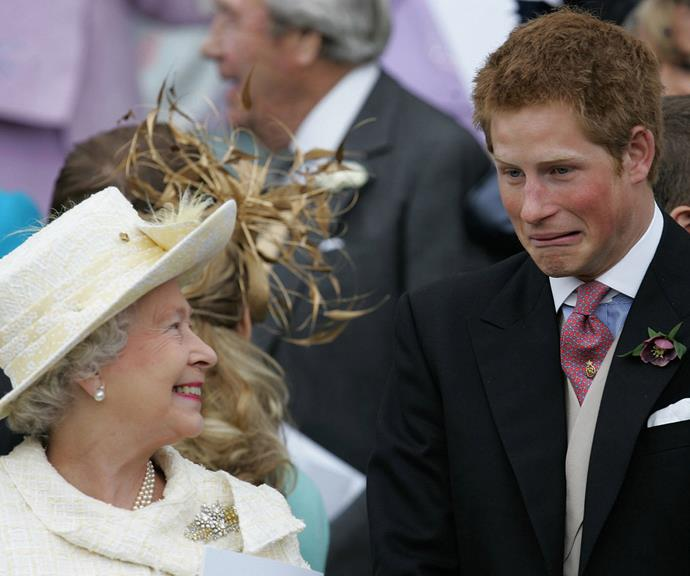 The Queen and Prince Harry shared a joked together in 2005 as they watched Prince Charles and Duchess Camilla leave St George's Chapel in Windsor following their marriage blessing.