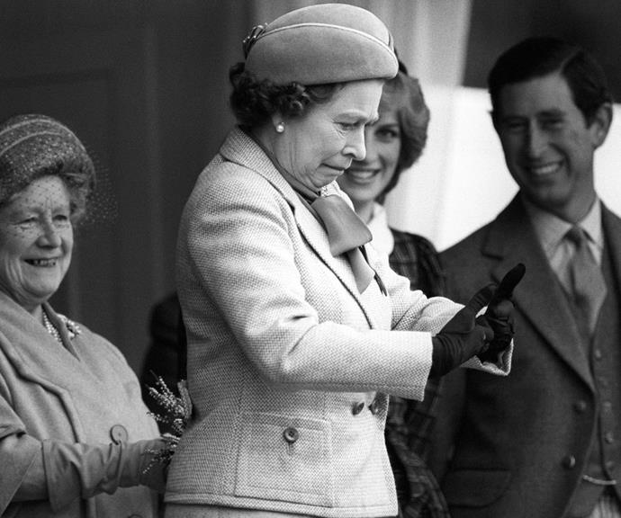 Pictured here in 1982, the Queen had just shaken hands with shot putter Geoff Capes, whose hands were sticky with resin used to improve his grip. He warned the Queen what might happen - and he was totally right.