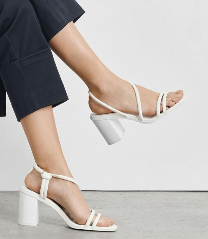 """We're obsessed with these Charles & Keith strappy block heels. Available for $79 from [Charleskeith.com](https://www.charleskeith.com/au/asymmetrical-strappy-block-heels-white-ck1-60580131